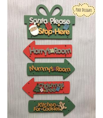Personalised Xmas decoration 'Santa Please Stop Here' Sign with arrows with kids names