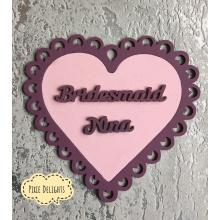 Bridesmaid gift - personalised with NAME- Lace scalloped hanging heart - options available