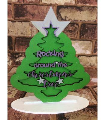 Christmas 3D Tree Design 'Rocking around the Christmas Tree' on stand - 15 designs available