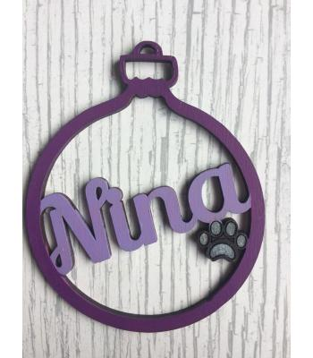 Xmas Bauble - Pet Dog/Cat - PERSONALISED with name - Gift Bag included