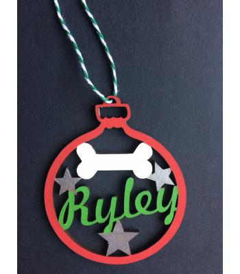 Xmas Bauble - Dog Bone & Stars- PERSONALISED with name - Gift Bag included
