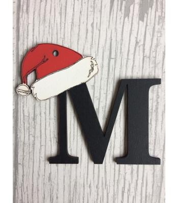 Xmas Bauble - Initial/Letter with Santa hat