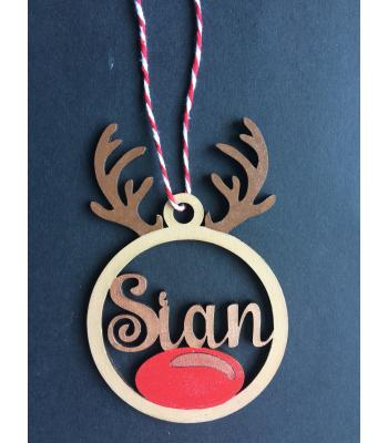 Xmas Bauble - Rudolph Reindeer- PERSONALISED with name - Gift Bag included