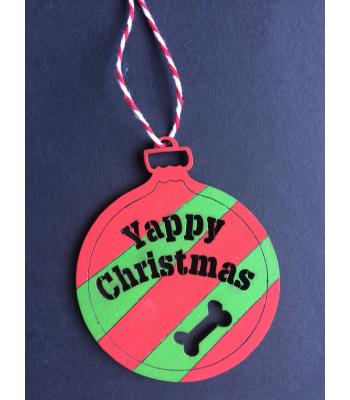 Xmas Bauble - Yappy Christmas- Dog Theme - Gift Bag included