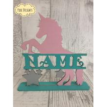 "Unicorn with personalised ""Name"" in centre optional stand- kids bedroom"