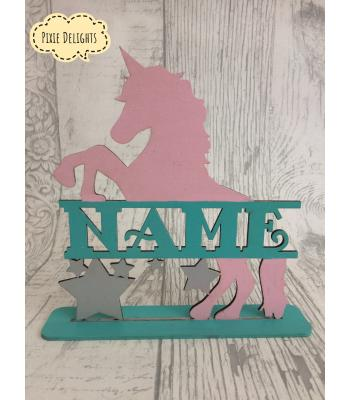 """Unicorn with personalised """"Name"""" in centre optional stand- kids bedroom"""