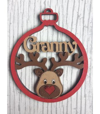 Xmas Bauble - Reindeer Head - PERSONALISED with name - GIft Bag included