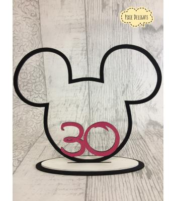 Wedding table number or Birthday gift -  Mouse Head with a number Inside, on a stand.