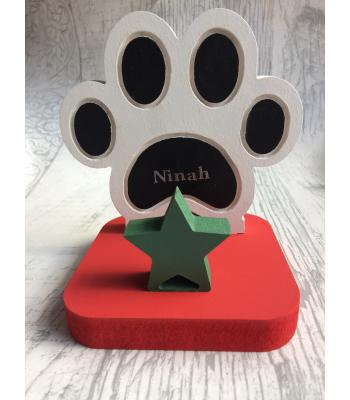 Christmas Stocking Hanger/Holder - Dog Paw print design - Optional personalisation