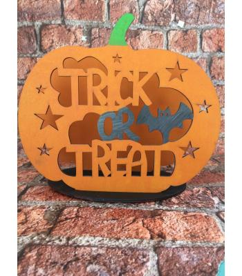 Halloween 'Trick or Treat' Pumpkin Tealight Holder - 2 DESIGNS