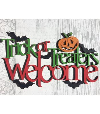 Laser Cut 'Trick or Treaters Welcome' Halloween Sign