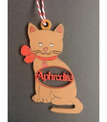 Xmas Bauble - Cat - PERSONALISED with name - Gift Bag included - 2 DESIGNS