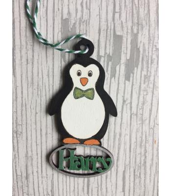 Xmas Bauble - Penguin  - PERSONALISED with name - GIft Bag included