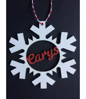 Xmas Bauble - Snowflake - PERSONALISED with name - Gift Bag included
