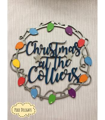 Personalised Xmas decoration 'Christmas At The...' Xmas lights Design -Wall Art Hoop - 5 designs