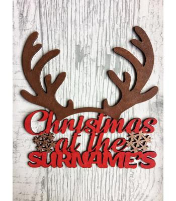 Personalised with surname 'Christmas At The...'  Reindeer Antlers Sign