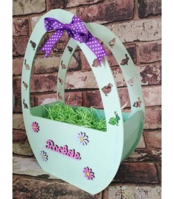 Easter Basket - Egg shaped - Personalised with name