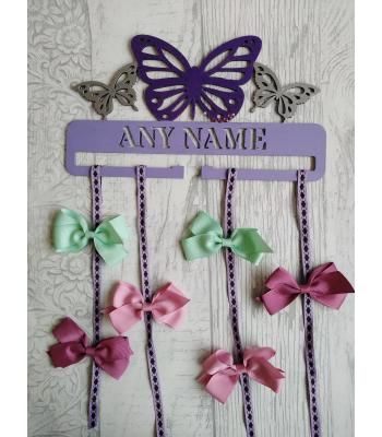 Bow Holder PERSONALISED with name - Butterfly  design IDEAL EASTER GIFT!