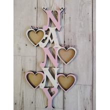 'Nanny' Vertical photo frame with PERSONALISED  wording and 1-15 PERSONALISED heart photo frames