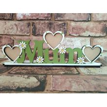 'Mum' photo frame  with flower embelishments on stand - Choose your own wording!