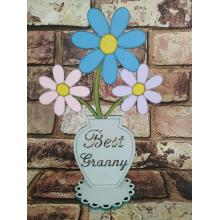 'Best Granny' Flower Pot on a Stand OTHER NAME OPTIONS