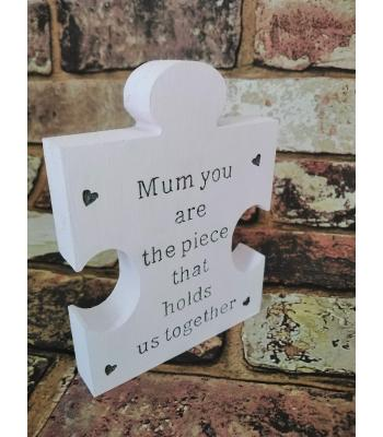 Freestanding 'Mum' puzzle piece - Ideal Mothers Day gift