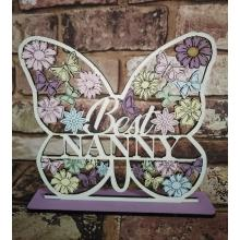 Butterfly Heart Plaque 'Best Nanny' (Mum, Gran, Nanna etc available)