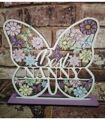 Butterfly Heart Plaque 'Best Nanny' (Mum, Gran, Nanna etc available)