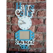 Baby photo frame personalised with DOB, Weight, Name etc - Clock design
