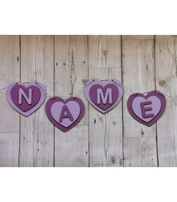 Kids girls/Bedroom Bunting - 3D layered heart design