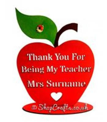 Teacher gift - 'Thank You For Being My Teacher...'Apple on stand - Personalised with Teachers name