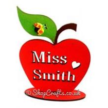 Teachers apple gift - Teachers Name Stencil Cut on a freestanding apple