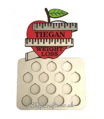 Personalised Weight Loss Coin Holder With Apple On Top