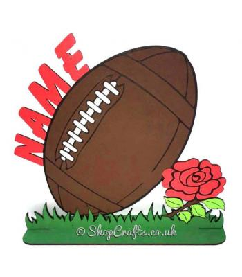 Large Personalised Name Rugby Ball Design On Stand