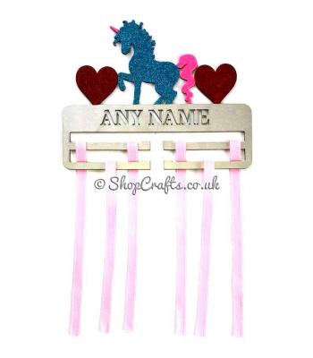 Personalised Large Bow/Hairband Hanging Holder - Unicorn And Hearts On Top