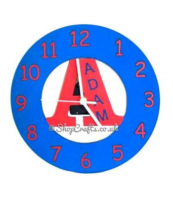 Personalised Childrens Wall Clock With Name and 1st Initial