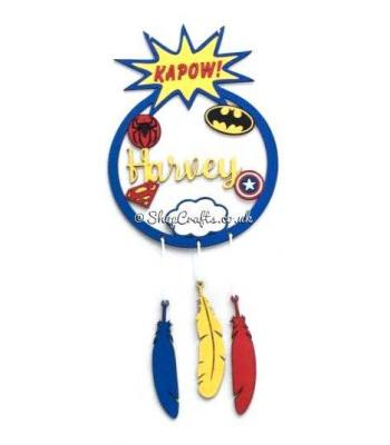Personalised Superhero Dream Catcher With Hanging Feathers