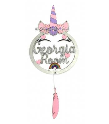 Personalised Large Unicorn Dream Catcher With Hanging Shapes