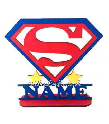 Personalised Superman Logo Shape On Stand With Name