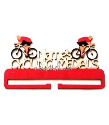 Personalised Cycling Hanging Medal Holder