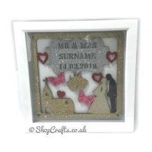 Personalised Wedding Details Plaque Inside Box Frame