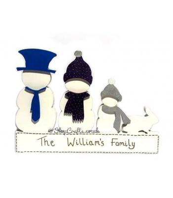 Snowman Family Decoration - Freestanding 18mm thick