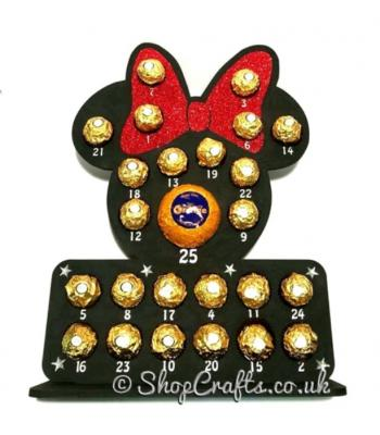 Reusable Minnie Mouse Head Shape Chocolate Advent Calendar - 6mm thick *More Designs Available*