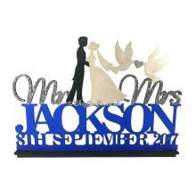 Mr & Mrs Wedding Sign with Surname and Date on a Stand