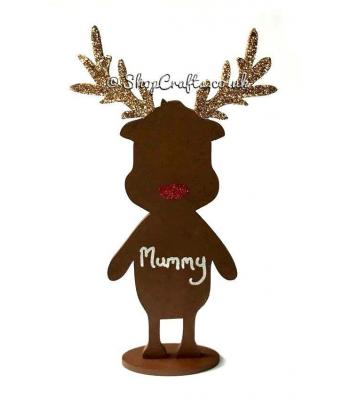 Reindeer on a Stand with Name - Decorative Table Place Card