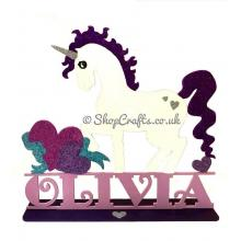 Large Unicorn shape with personalised Name on a Stand