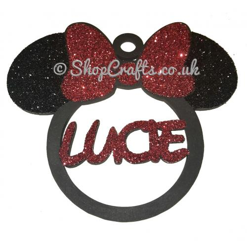 Minnie Mouse Head Shape Name Bauble Personalised