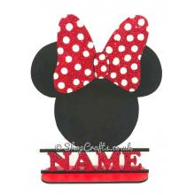 Minnie Mouse Shape on Stand personalised with Name