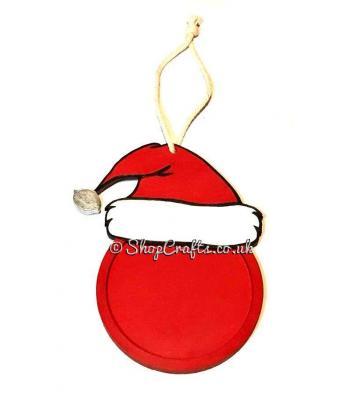 Santa Hat Photo Frame Christmas Bauble Decoration