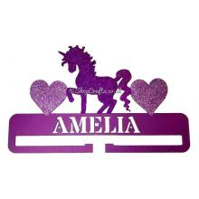 Unicorn Headband or Bow Hanging Holder With Name and Hearts